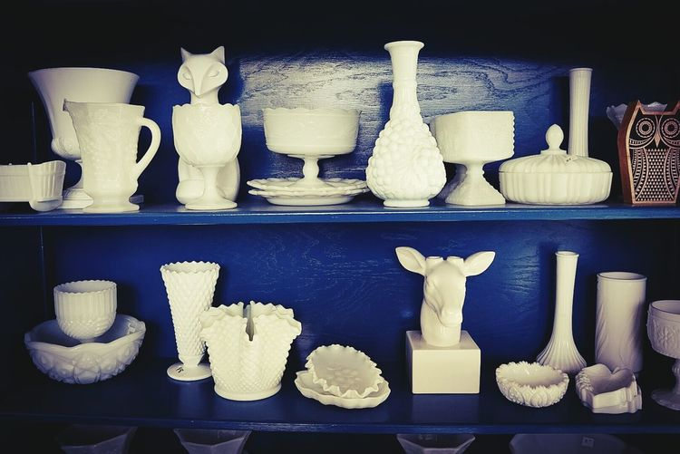 Row of objects on table