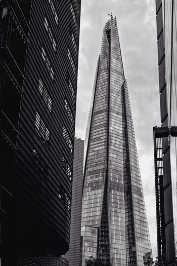 Skyscraper Architecture Tall - High Modern Built Structure Building Exterior City Low Angle View Tower Sky Day Travel Destinations Outdoors Corporate Business No People The Shard London City Travel Architecture Tourism Office Park Postcode Postcards