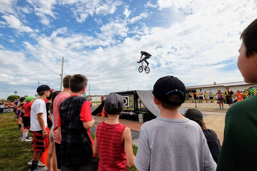 Nowear BMX Team Nebraska State Fair September 1, 2018 Grand Island, Nebraska Camera Work Check This Out Composition Event EyeEm Best Shots FUJIFILM X-T1 Fujinon 10-24mm F4 Getty Images Grand Island, Nebraska Nebraska State Fair NowearBMX Photojournalism Stunt Action Adult Bicycle Bmx  Casual Clothing Cloud - Sky Crowd Day Extreme Sports Eye For Photography Eyeforphotography Freestyle Group Of People Leisure Activity Lifestyles Looking Men Nature Outdoors People Real People Rear View S.ramos September 2018 Sky Spectator Sport Standing Transportation Tricks Watching Women