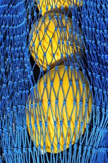 Sunlight Backgrounds Blue Complementary Colors Day España Fishing Equipment Fishing Net Full Frame No People Textured  Yellow